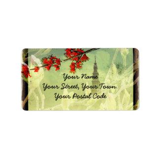 Flor del arce y de la magnolia etiquetas de dirección