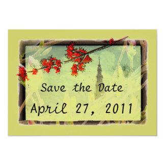 Flor del arce y de la magnolia invitación 12,7 x 17,8 cm