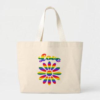 Flor del arco iris del amor bolsa de mano