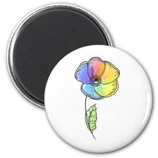 Flor del arco iris imán redondo 5 cm