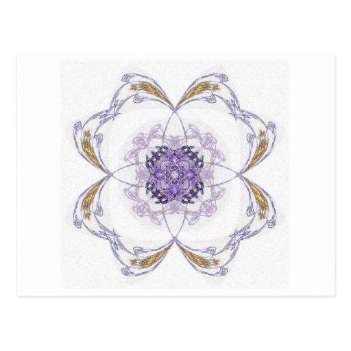Flor del arte del fractal del azul y del oro tarjeta postal