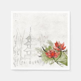 flor del asiático de las servilletas de papel