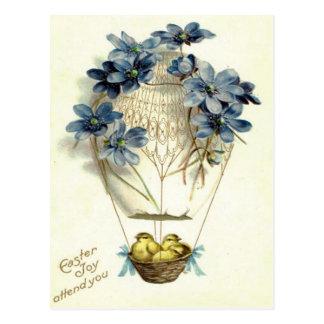 Flor del azul del globo del aire caliente del tarjetas postales
