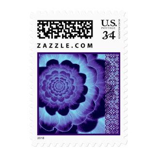 Flor del boda de la púrpura real y de los azules sello