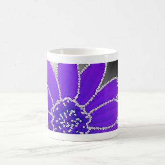 Flor del borde del diamante - púrpura tazas de café