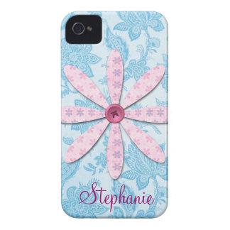 Flor del botón y papel pintado del vintage Case-Mate iPhone 4 protectores