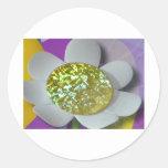 flor del brillo etiquetas redondas