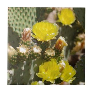 Flor del cactus azulejo cuadrado pequeño