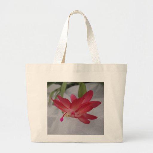 Flor del cactus de Navidad Bolsa Tela Grande