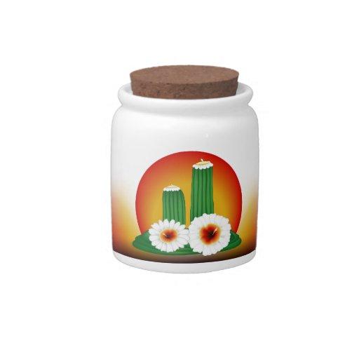 Flor del cactus jarra para caramelo