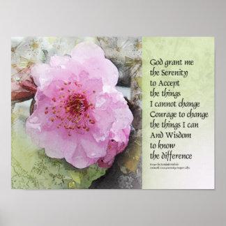 Flor del ciruelo del rezo de la serenidad posters
