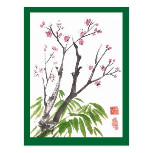 Flor del ciruelo y postal del bambú