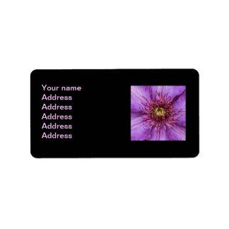 Flor del Clematis púrpura Etiquetas De Dirección