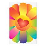 Flor del corazón de la sol papelería