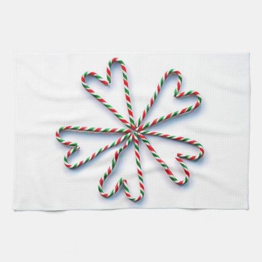 Flor del corazón del bastón de caramelo del navida toallas de cocina