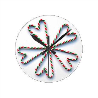 Flor del corazón del bastón de caramelo del navida reloj