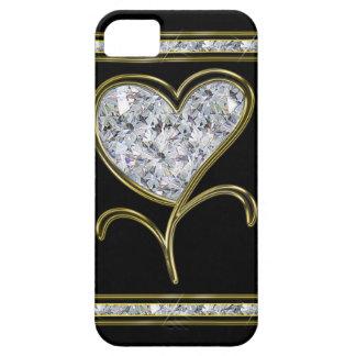 Flor del corazón del diamante y del oro iPhone 5 Case-Mate cárcasas