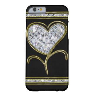 Flor del corazón del diamante y del oro funda de iPhone 6 slim