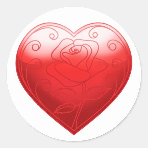 Flor del corazón etiqueta redonda
