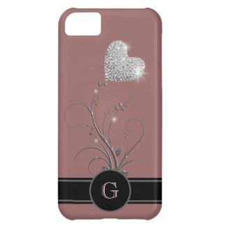 flor del corazón para añadir la inicial conocida funda para iPhone 5C