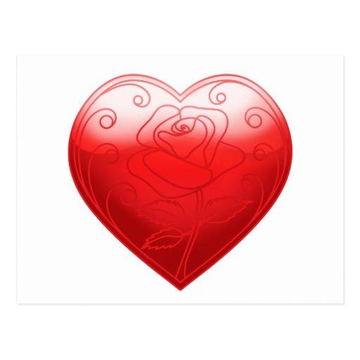 Flor del corazón postal