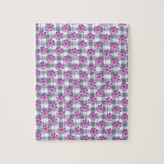 Flor del cosmos con la línea fondo puzzle