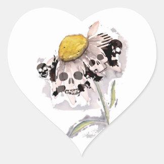 Flor del cráneo calcomania de corazon