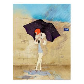 Flor del día lluvioso tarjetas postales