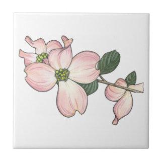 Flor del Dogwood Azulejo Cuadrado Pequeño