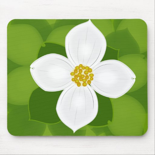 Flor del Dogwood en fondo verde Alfombrilla De Ratón