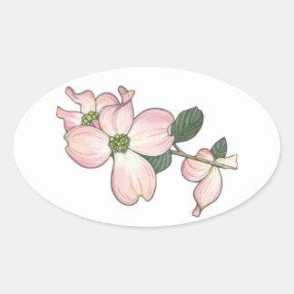 Flor del Dogwood Pegatina Ovalada