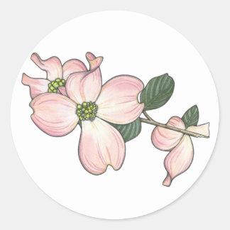 Flor del Dogwood Pegatina Redonda