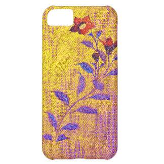 Flor del dril de algodón - oro - caso del iPhone 5