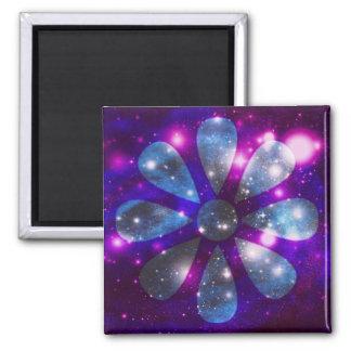 Flor del espacio imán de frigorífico