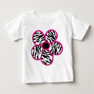 Flor del estampado de zebra playera