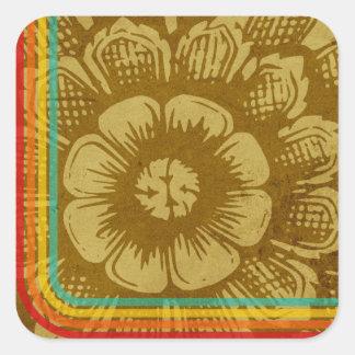 Flor del este con las rayas retras en un Grunge Pegatina Cuadrada