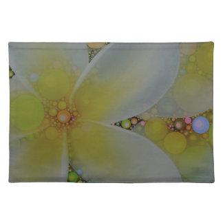 Flor del extracto del verde amarillo mantel