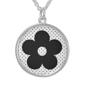 Flor del fiesta del lunar en blanco y negro grimpolas personalizadas