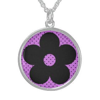 Flor del fiesta del lunar en púrpura collares de plata esterlina