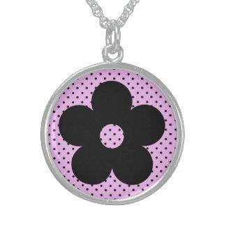 Flor del fiesta del lunar en rosa pendientes personalizados