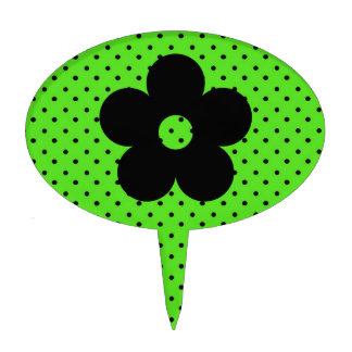 Flor del fiesta del lunar en verde figura para tarta