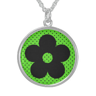 Flor del fiesta del lunar en verde collar personalizado