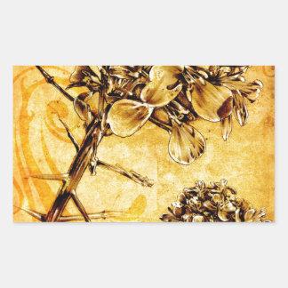 Flor del fineart F041 del vintage Pegatina Rectangular
