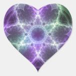 Flor del fractal de la vida - geometría sagrada pegatina en forma de corazón