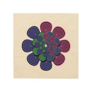 Flor del fractal impresiones en madera