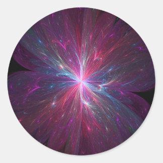 Flor del fractal pegatina redonda