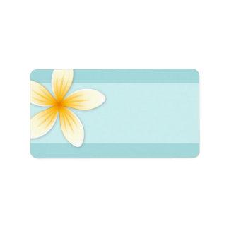 Flor del Frangipani del Plumeria en espacio en bla Etiquetas De Dirección