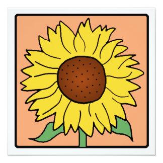 """Flor del girasol del verano del jardín del clip invitación 5.25"""" x 5.25"""""""