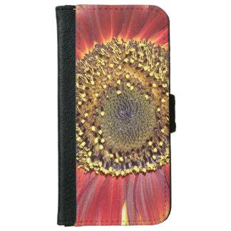 Flor del girasol funda cartera para iPhone 6