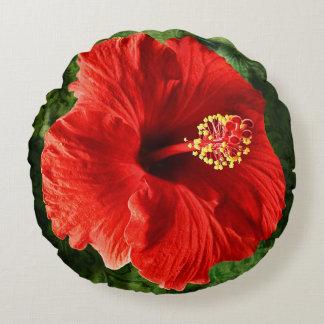 Flor del hibisco cojín redondo